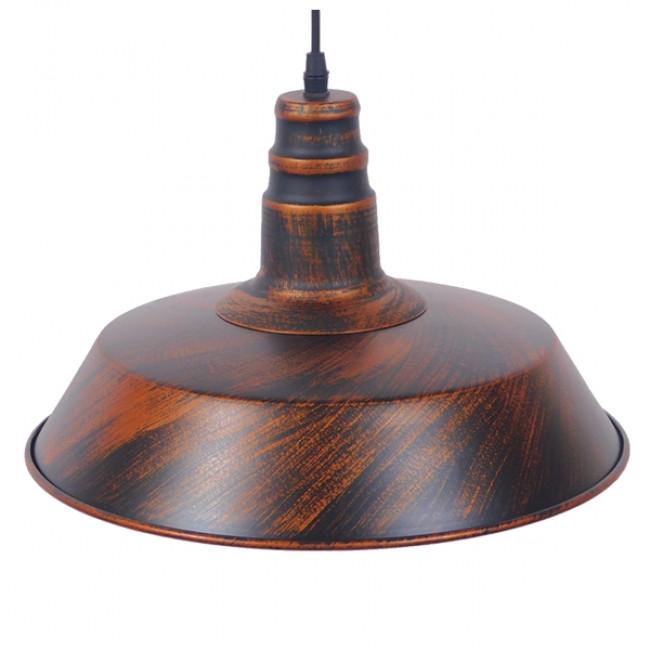 Vintage Industrial Κρεμαστό Φωτιστικό Οροφής Μονόφωτο Καφέ Σκουριά Μεταλλικό Καμπάνα Φ36 GloboStar RAY IRON RUST 01046 - 4