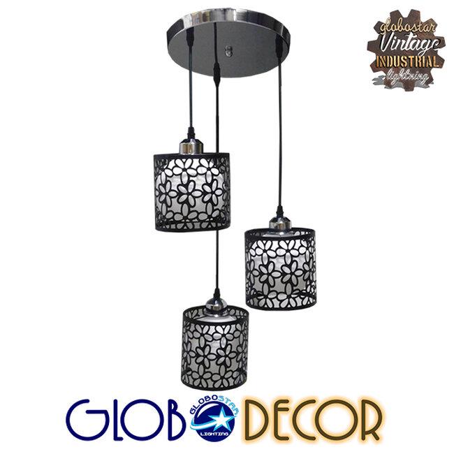 Μοντέρνο Κρεμαστό Φωτιστικό Οροφής Τρίφωτο Μαύρο Μεταλλικό Πλέγμα με Λευκό Γυαλί Φ40 GloboStar RAINELDA 01246 - 1
