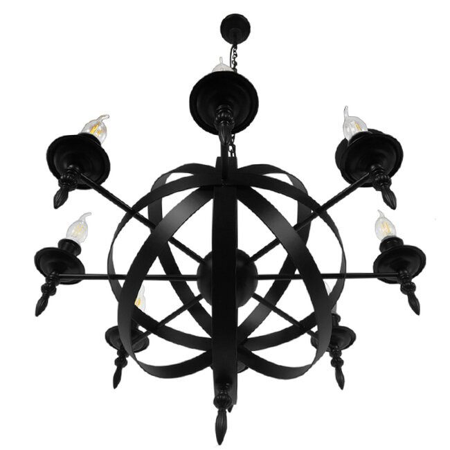 Vintage Industrial Κρεμαστό Φωτιστικό Οροφής Πολύφωτο Μαύρο Μεταλλικό Πολυέλαιος Φ65  ESTELLE 01003 - 4