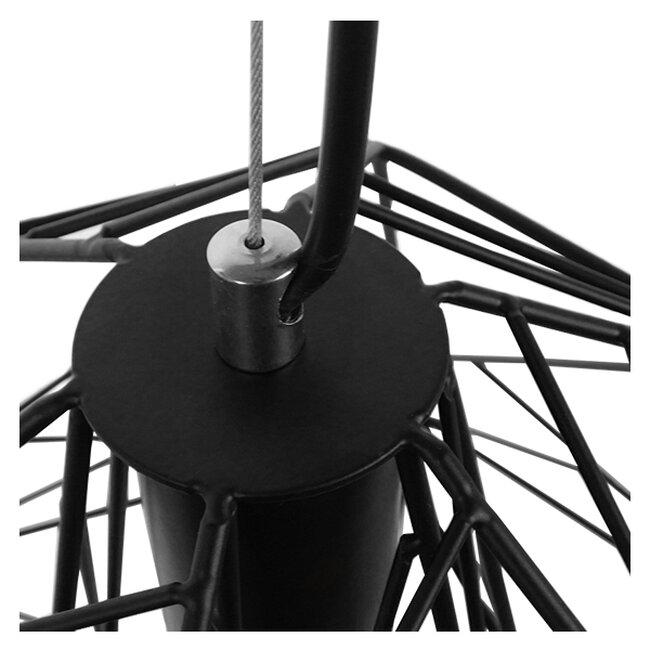 Vintage Industrial Kρεμαστό Φωτιστικό Οροφής Μονόφωτο Μαύρο Μεταλλικό Πλέγμα Φ32  GRID 01022 - 8