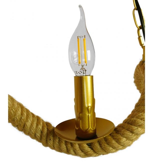 Vintage Κρεμαστό Φωτιστικό Οροφής Τρίφωτο Χρυσό Μεταλλικό με Μπεζ Σχοινί GloboStar LUXOR 01598 - 7