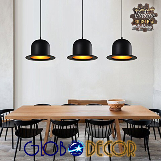 Vintage Κρεμαστό Φωτιστικό Οροφής Μονόφωτο Μαύρο Μεταλλικό Καμπάνα Φ26  CHARLO 01214 - 6