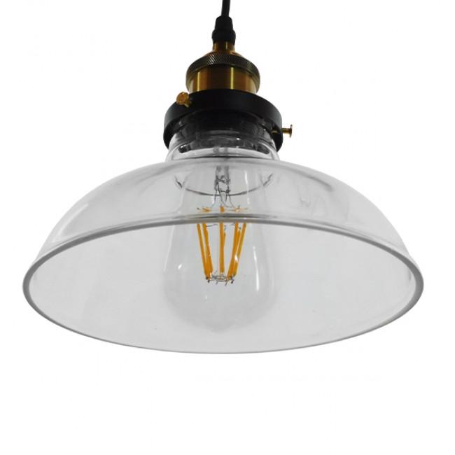 Vintage Κρεμαστό Φωτιστικό Οροφής Μονόφωτο Γυάλινο Καμπάνα Φ20 GloboStar BINGLEY 01075 - 5