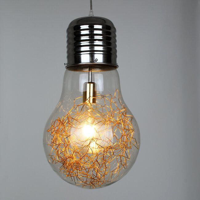 LAMP 00808 Μοντέρνο Κρεμαστό Φωτιστικό Οροφής Μονόφωτο Ασημί Νίκελ Βάση και Χρυσό Ντουί Μεταλλικό Διάφανο Γυαλί Φ30 x Υ52cm - 3