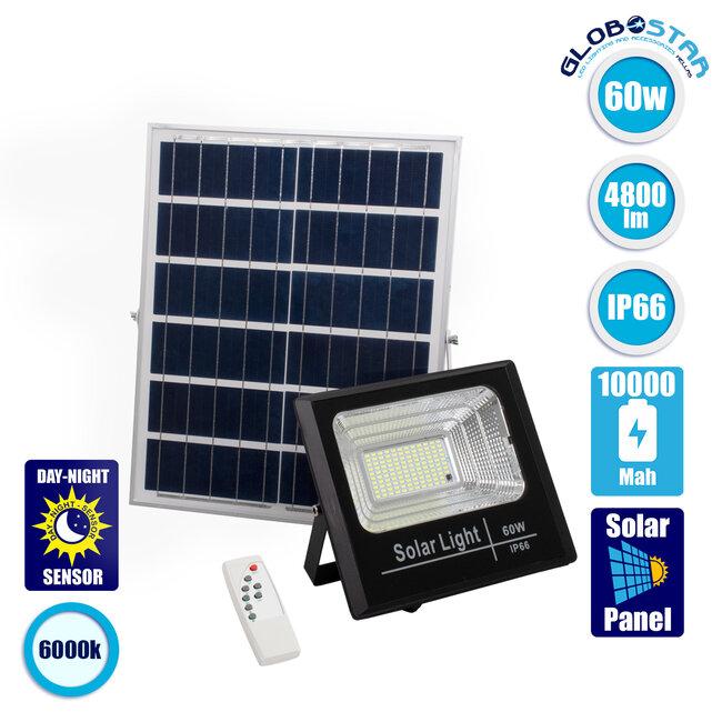 71556 Αυτόνομος Ηλιακός Προβολέας LED SMD 60W 4800lm με Ενσωματωμένη Μπαταρία 10000mAh - Φωτοβολταϊκό Πάνελ με Αισθητήρα Ημέρας-Νύχτας και Ασύρματο Χειριστήριο RF 2.4Ghz Αδιάβροχος IP66 Ψυχρό Λευκό 6000K - 1