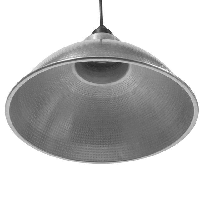 Vintage Industrial Κρεμαστό Φωτιστικό Οροφής Μονόφωτο Ασημί Μεταλλικό Καμπάνα Φ39  LOUVE SILVER 01178 - 3