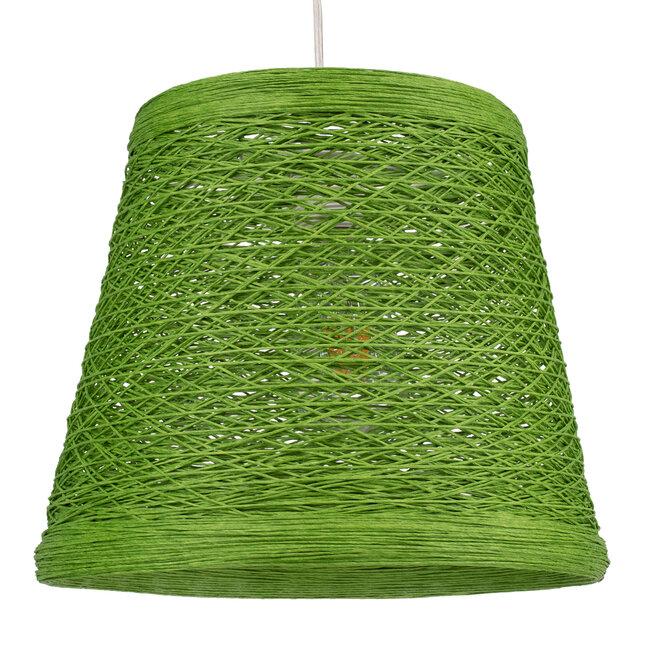PLAYROOM 00864 Vintage Κρεμαστό Φωτιστικό Οροφής Μονόφωτο Πράσινο Ξύλινο Ψάθινο Rattan Φ32 x Υ27cm - 2