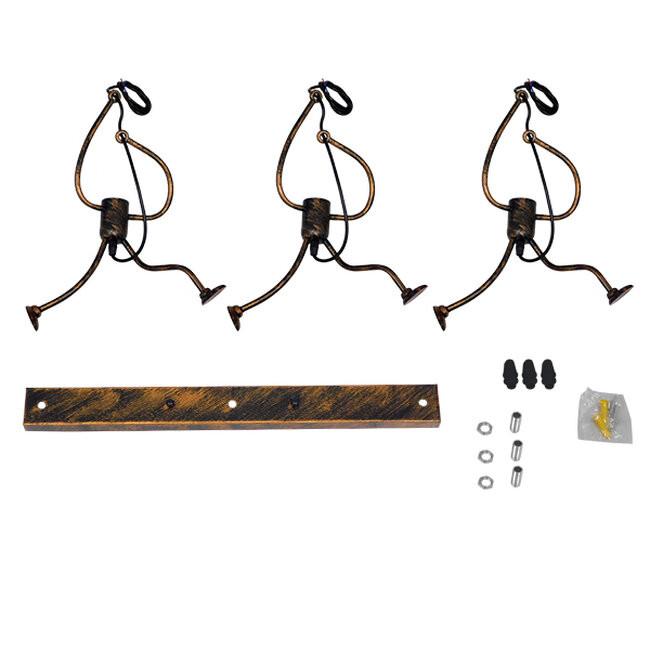 SET Μοντέρνο Κρεμαστό Φωτιστικό Οροφής Τρίφωτο Καφέ Σκουριά Μεταλλικό GloboStar LITTLE MAN IRON RUST 00979 - 7