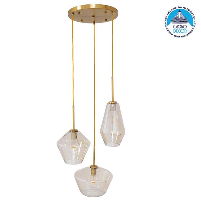 Μοντέρνο Κρεμαστό Φωτιστικό Οροφής Τρίφωτο Μελί Χρυσό με Γυαλί Φ50  ACATIA 00978 - 1