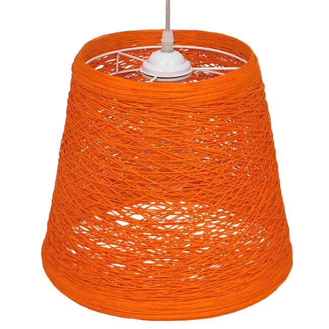 Vintage Κρεμαστό Φωτιστικό Οροφής Μονόφωτο Πορτοκαλί Ξύλινο Ψάθινο Rattan Φ32  ARGENT ORANGE 00997 - 4