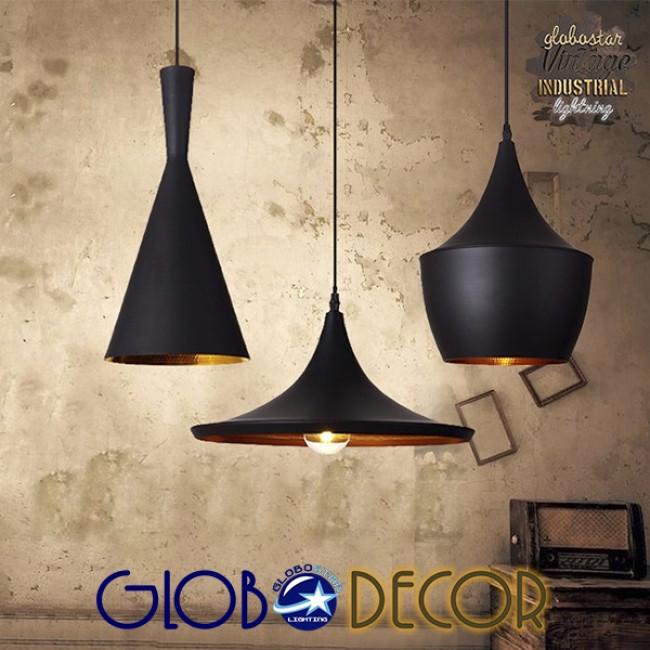 SET 3 Μοντέρνα Κρεμαστά Φωτιστικά Οροφής Μονόφωτα Μαύρα Μεταλλικά Καμπάνα GloboStar SHANGHAI BLACK 01025 - 6