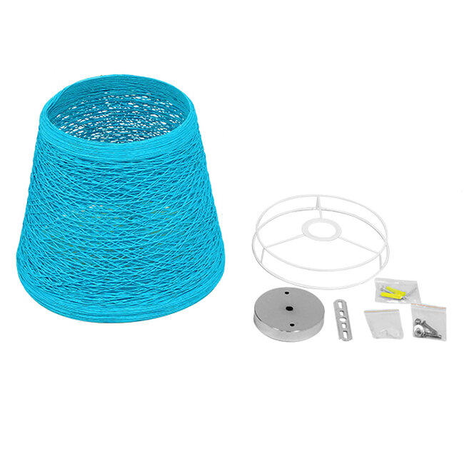Vintage Κρεμαστό Φωτιστικό Οροφής Μονόφωτο Θαλασσί Ξύλινο Ψάθινο Rattan Φ32  ARGENT SEA BLUE 00995 - 6