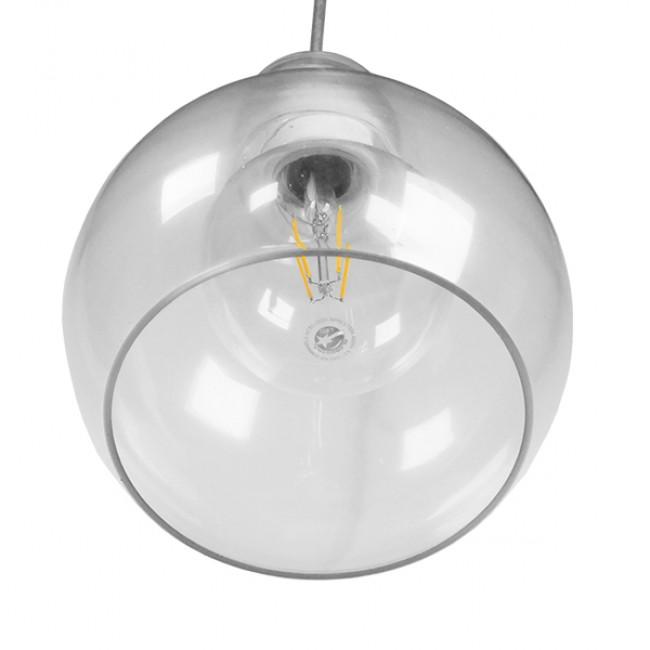 Μοντέρνο Κρεμαστό Φωτιστικό Οροφής Μονόφωτο Γυάλινο Διάφανο Φ18 GloboStar LUCREZIA 01314 - 6