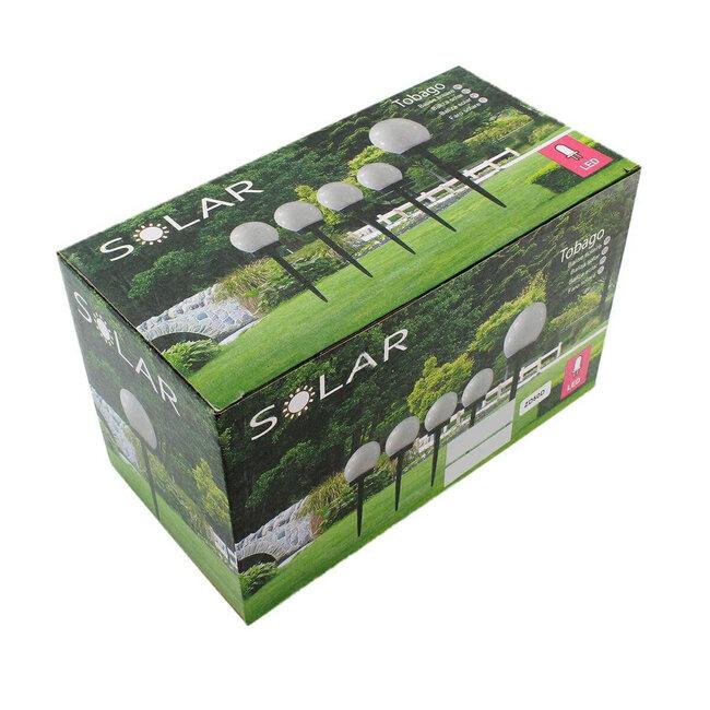 GloboStar® 71471 Αυτόνομο Ηλιακό Φωτιστικό LED SMD 1W 95lm με Ενσωματωμένη Μπαταρία 300mAh - Φωτοβολταϊκό Πάνελ με Αισθητήρα Ημέρας-Νύχτας Αδιάβροχο IP65 Φανάρι Κήπου Στρογγυλό Θερμό Λευκό 3000K - 5
