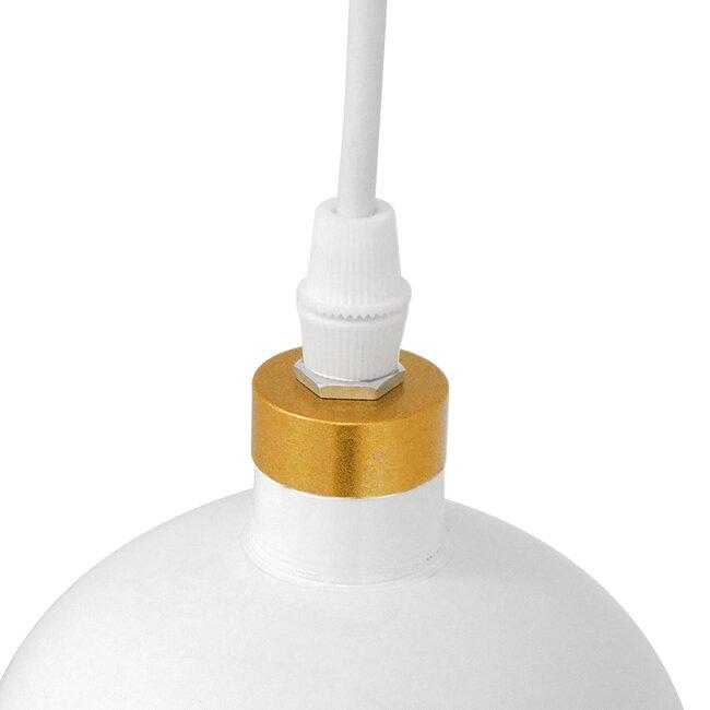 Μοντέρνο Κρεμαστό Φωτιστικό Οροφής Μονόφωτο Λευκό - Χρυσό Μεταλλικό Καμπάνα Φ14  PALAZZO GOLD WHITE 01524 - 8