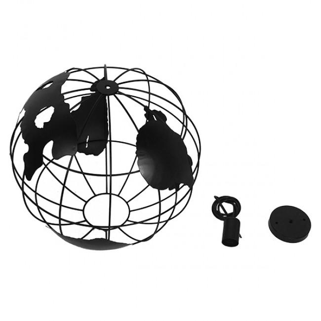 Vintage Industrial Κρεμαστό Φωτιστικό Οροφής Μονόφωτο Μαύρο Μεταλλικό Πλέγμα Φ40 GloboStar EARTH BLACK 40CM 01663 - 8