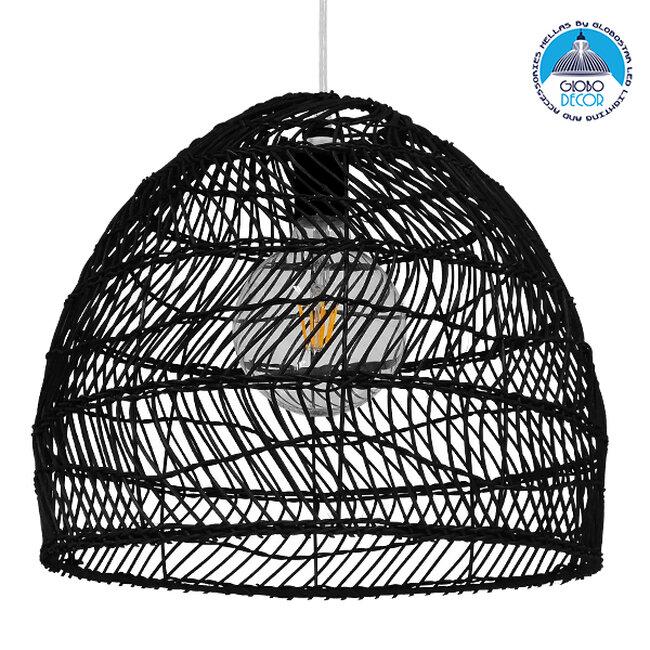 Vintage Κρεμαστό Φωτιστικό Οροφής Μονόφωτο Μαύρο Ξύλινο Bamboo Φ40cm  COMORES BLACK 00969 - 1