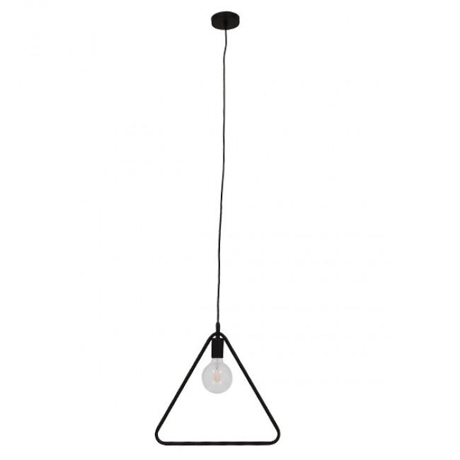 Μοντέρνο Κρεμαστό Φωτιστικό Οροφής Μονόφωτο Μαύρο Μεταλλικό GloboStar DELTA BLACK 01580 - 2