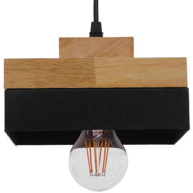 Μοντέρνο Κρεμαστό Φωτιστικό Οροφής Μονόφωτο Μαύρο Μεταλλικό με Φυσικό Ξύλο Καμπάνα Φ18 GloboStar LAOTH 01234 - 4