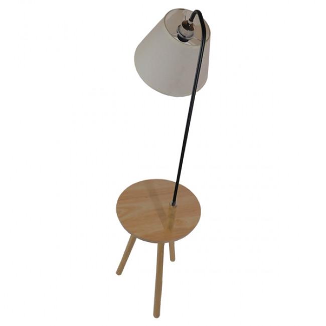 Μοντέρνο Φωτιστικό Δαπέδου Μονόφωτο Ξύλινο με Μπεζ Καπέλο και Μαύρο Μεταλλικό Βραχίονα Φ28 GloboStar TIFFANY 01206 - 3