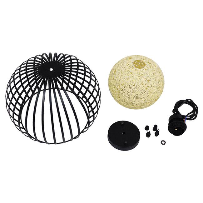 Μοντέρνο Industrial Κρεμαστό Φωτιστικό Οροφής Μονόφωτο Μαύρο με Εκρού Μεταλλικό Πλέγμα Φ28  CARTER Φ28 00960 - 8