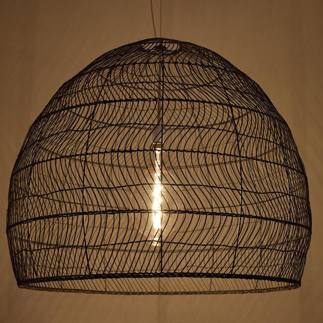 GloboStar® MALIBU 00966 Vintage Κρεμαστό Φωτιστικό Οροφής Μονόφωτο Μαύρο Ξύλινο Bamboo Φ97 x Y86cm - 2