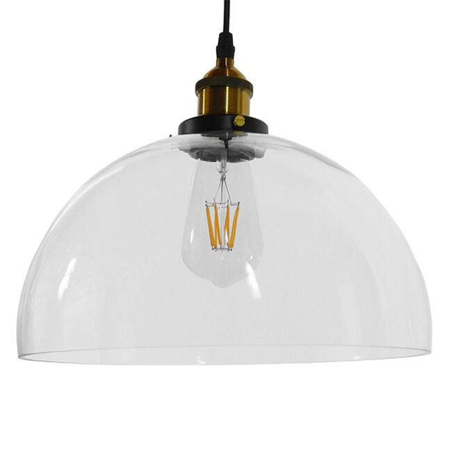 Vintage Κρεμαστό Φωτιστικό Οροφής Μονόφωτο Γυάλινο Καμπάνα Φ30 GloboStar DARCY 01171 - 5