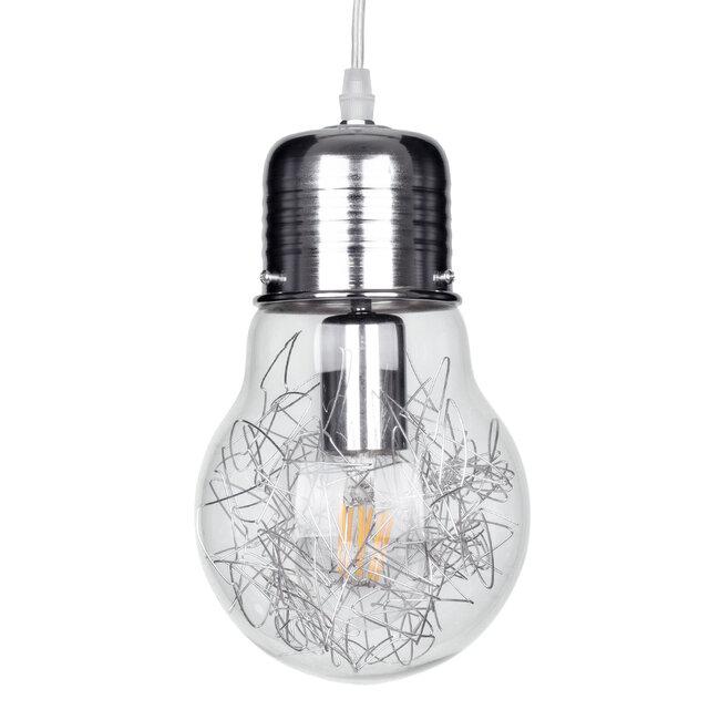 LAMP 01676 Μοντέρνο Κρεμαστό Φωτιστικό Οροφής Μονόφωτο Ασημί Νίκελ Μεταλλικό Διάφανο Γυαλί Φ15 x Υ27cm - 2