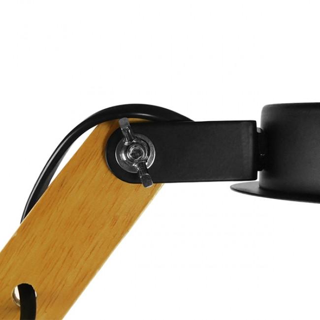 Μοντέρνο Φωτιστικό Οροφής Πολύφωτο Μαύρο Μεταλλικό με Φυσικό Ξύλο Καμπάνα Φ75  OLD SCHOOL 01094 - 6
