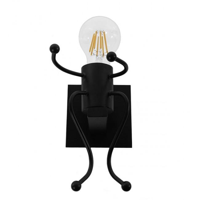 Μοντέρνο Φωτιστικό Τοίχου Απλίκα Μονόφωτο Μαύρο Μεταλλικό GloboStar JOYCE 01388 - 3