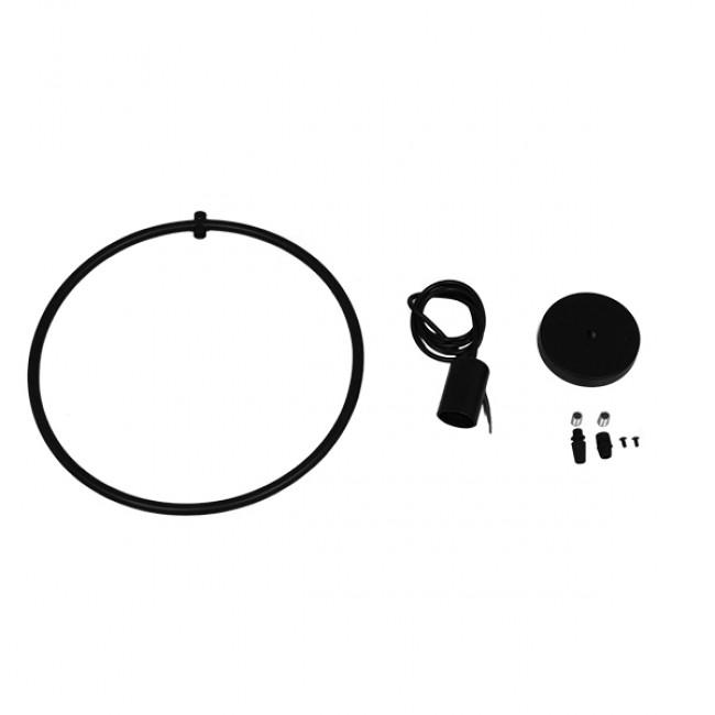 Μοντέρνο Κρεμαστό Φωτιστικό Οροφής Μονόφωτο Μαύρο Μεταλλικό Φ33 GloboStar OMICRON BLACK 01578 - 8