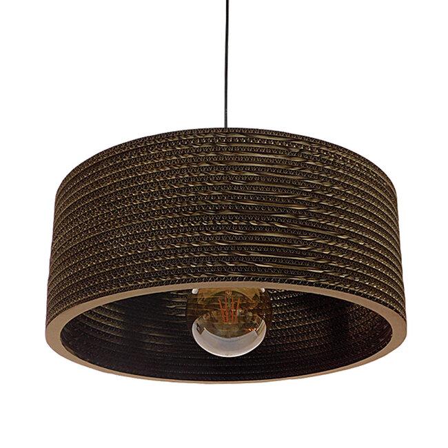 Vintage Κρεμαστό Φωτιστικό Οροφής Μονόφωτο 3D από Επεξεργασμένο Σκληρό Καφέ Χαρτόνι Καμπάνα Φ50  SKOPELOS 01297 - 3