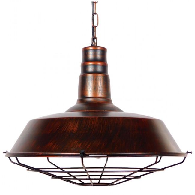 Vintage Industrial Κρεμαστό Φωτιστικό Οροφής Μονόφωτο Καφέ Σκουριά Μεταλλικό Καμπάνα Φ46 GloboStar BARN IRON RUST 01045 - 3