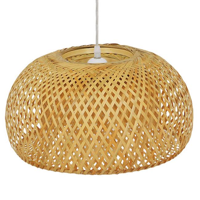 Vintage Κρεμαστό Φωτιστικό Οροφής Μονόφωτο Καφέ Ξύλινο Bamboo Φ38  SAN TROPEZ 01626 - 5