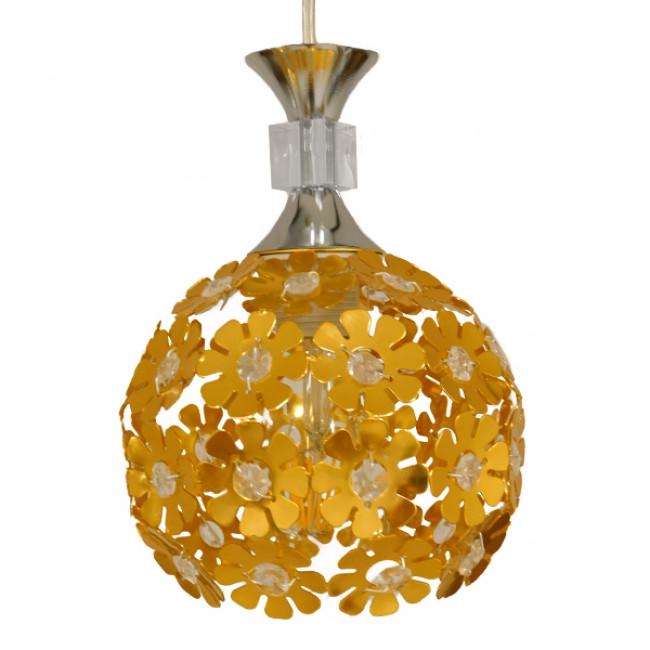 Μοντέρνο Κρεμαστό Φωτιστικό Οροφής Τρίφωτο Χρυσό Μεταλλικό με Κρύσταλλα Φ50  MARGARITA 01670 - 4