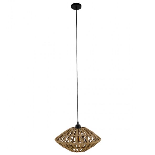 Vintage Κρεμαστό Φωτιστικό Οροφής Μονόφωτο Μαύρο Μεταλλικό Πλέγμα με Μπεζ Σχοινί Φ40 GloboStar NATHLEN 01187 - 2