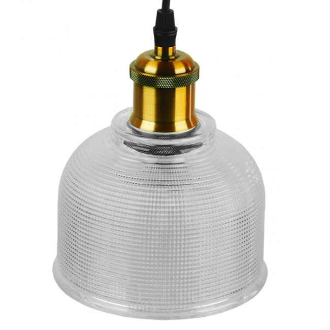Vintage Κρεμαστό Φωτιστικό Οροφής Μονόφωτο Γυάλινο Διάφανο Καμπάνα με Χρυσό Ντουί Φ14 GloboStar SEGRETO TRANSPARENT 01447 - 4