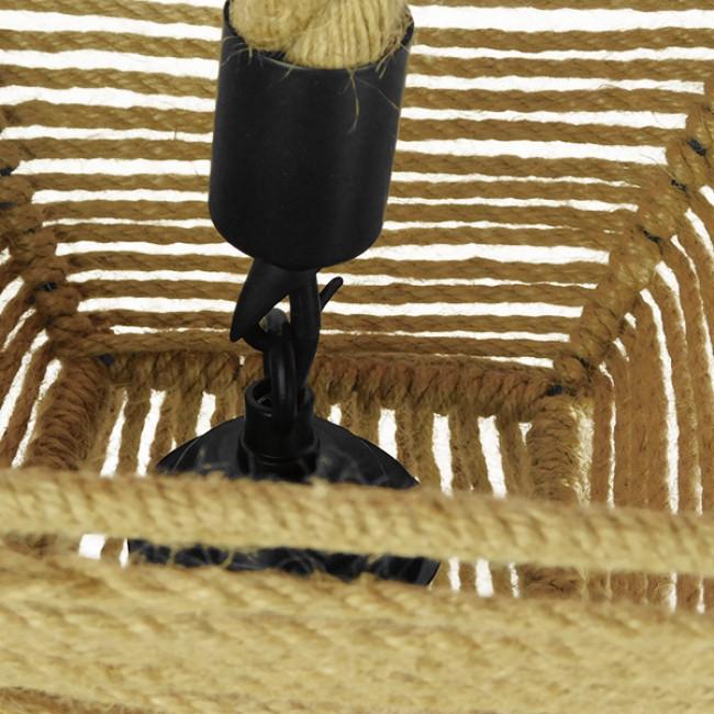 Vintage Κρεμαστό Φωτιστικό Οροφής Μονόφωτο Πλέγμα με Μπεζ Σχοινί Φ21  ROUGE 01611 - 8