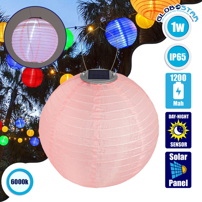 GloboStar® 71595 Αυτόνομο Ηλιακό Φωτιστικό Υφασμάτινη Ροζ Μπάλα Φ30cm LED SMD 1W 100lm με Ενσωματωμένη Μπαταρία 1200mAh - Φωτοβολταϊκό Πάνελ με Αισθητήρα Ημέρας-Νύχτας Αδιάβροχο IP65 Ψυχρό Λευκό 6000K - 1