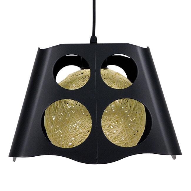 Μοντέρνο Industrial Κρεμαστό Φωτιστικό Οροφής Μονόφωτο Μαύρο με Εκρού Μεταλλικό Πλέγμα 28x28x22cm  CARTER 28x28x22cm 00962 - 4