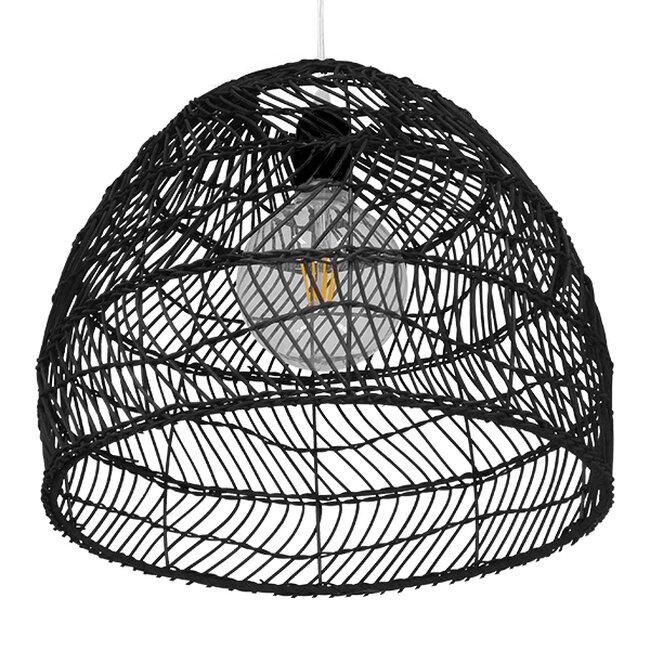Vintage Κρεμαστό Φωτιστικό Οροφής Μονόφωτο Μαύρο Ξύλινο Bamboo Φ40cm  COMORES BLACK 00969 - 5