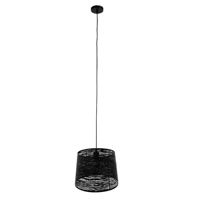 Μοντέρνο Industrial Κρεμαστό Φωτιστικό Οροφής Μονόφωτο Μεταλλικό Μαύρο Καμπάνα Φ35 GloboStar ATLANTIS 01556 - 2