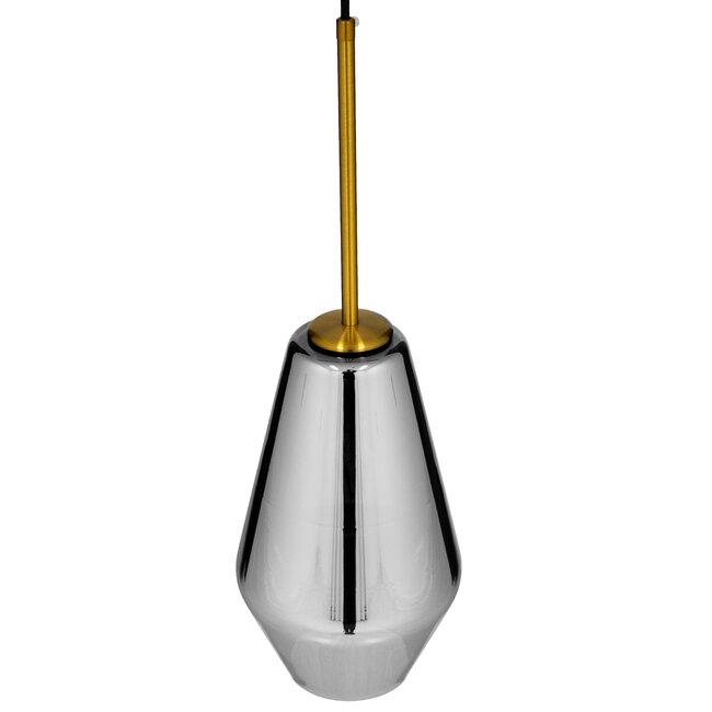GloboStar® AMARIS 00874 Μοντέρνο Κρεμαστό Φωτιστικό Οροφής Μονόφωτο Γυάλινο Φιμέ Νίκελ Φ17 x 30CM - 6