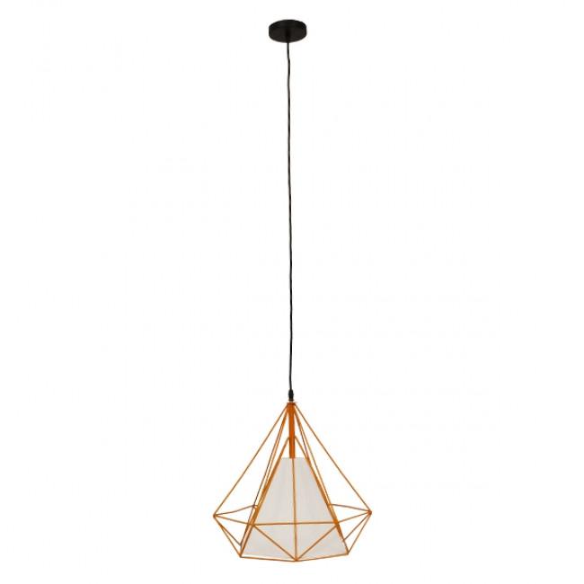 Μοντέρνο Industrial Κρεμαστό Φωτιστικό Οροφής Μονόφωτο Πορτοκαλί με Άσπρο Ύφασμα Μεταλλικό Πλέγμα Φ38  KAIRI ORANGE 01621 - 2