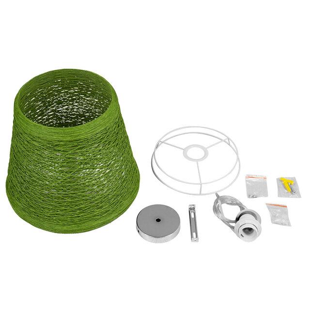 PLAYROOM 00864 Vintage Κρεμαστό Φωτιστικό Οροφής Μονόφωτο Πράσινο Ξύλινο Ψάθινο Rattan Φ32 x Υ27cm - 8