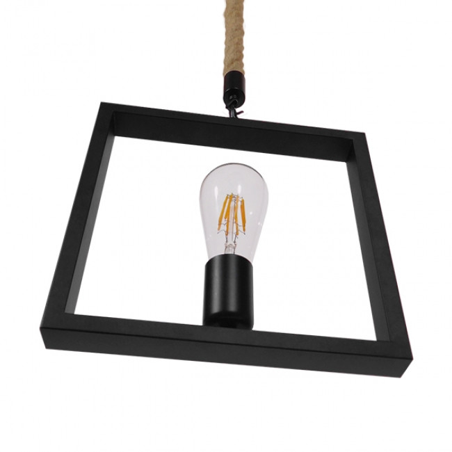 Vintage Κρεμαστό Φωτιστικό Οροφής Μονόφωτο Μαύρο Μεταλλικό με Μπεζ Σχοινί GloboStar FRAISE 01077 - 5