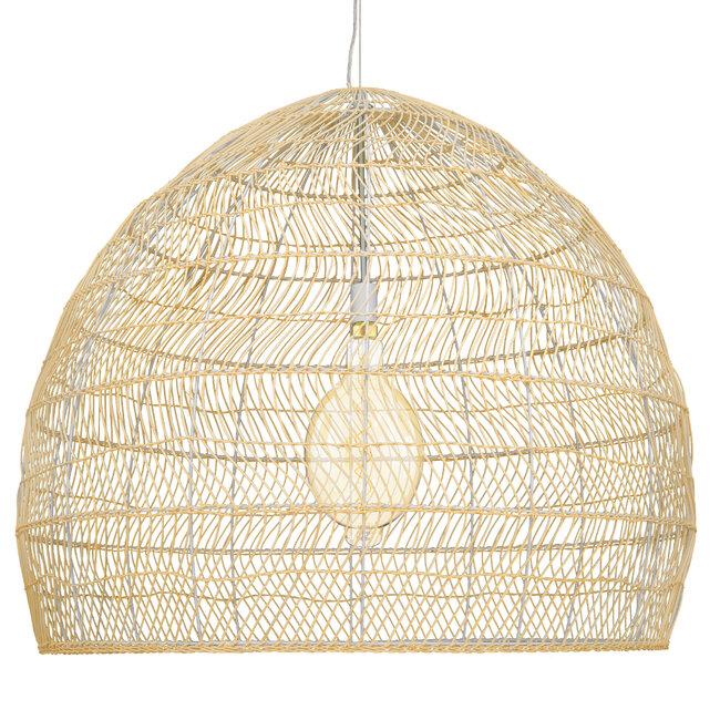 GloboStar® MALIBU 00974 Vintage Κρεμαστό Φωτιστικό Οροφής Μονόφωτο Μπεζ Ξύλινο Bamboo Φ97 x Y86cm - 4
