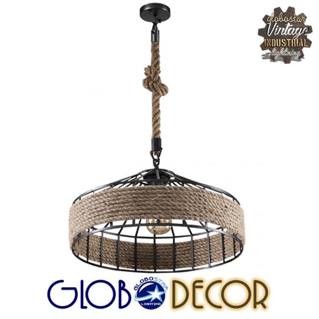 Vintage Κρεμαστό Φωτιστικό Οροφής Μονόφωτο Μαύρο Μεταλλικό με Μπεζ Σχοινί Φ50 GloboStar POLI 01147 - 2