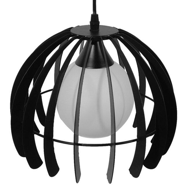 Μοντέρνο Κρεμαστό Φωτιστικό Οροφής Μονόφωτο Μαύρο Μεταλλικό Πλέγμα με Λευκό Γυαλί Φ26  INGLEY 01226 - 4