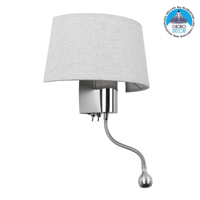 ELEGANT 01493 Μοντέρνο Φωτιστικό Τοίχου Απλίκα Δίφωτο Μεταλλικό με Λευκό Ύφασμα και Βραχίονα με LED Μ26.5 x Π15 x Υ43cm - 1